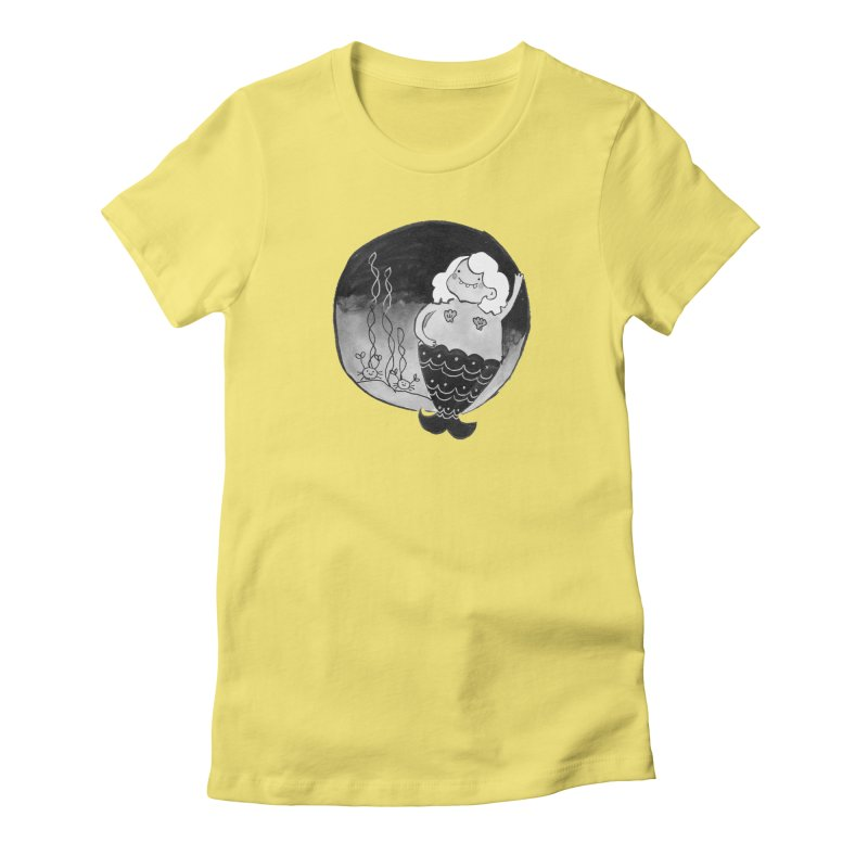 Fat Mermaid - White Hair Women's Fitted T-Shirt by Tianguis