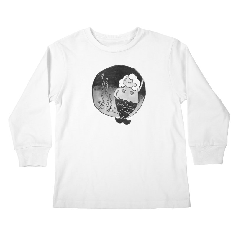 Fat Mermaid - White Hair Kids Longsleeve T-Shirt by Tianguis