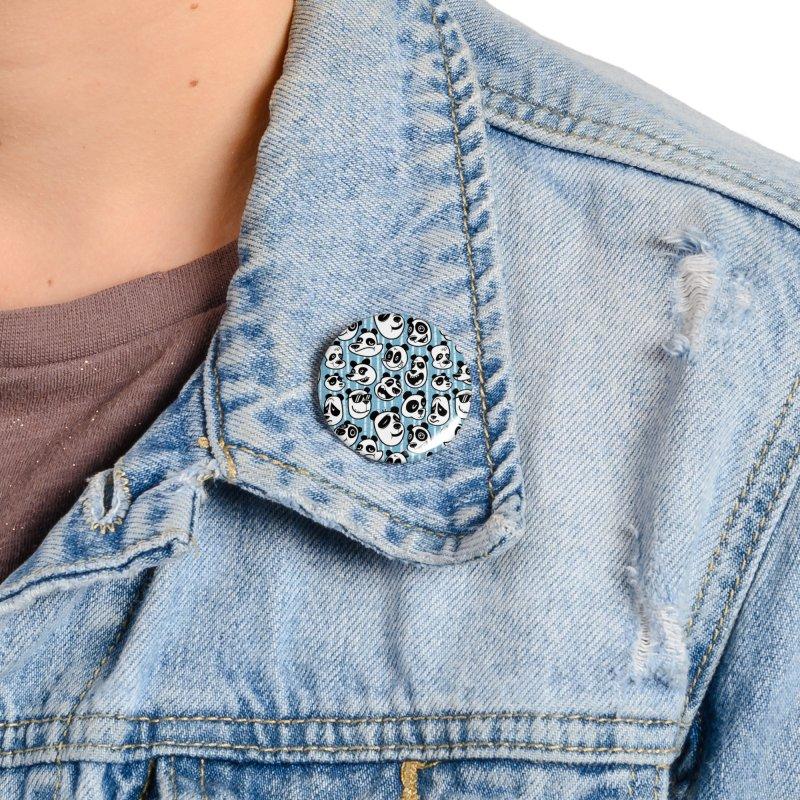 Panda Pattern Blue Accessories Button by jublin's Artist Shop