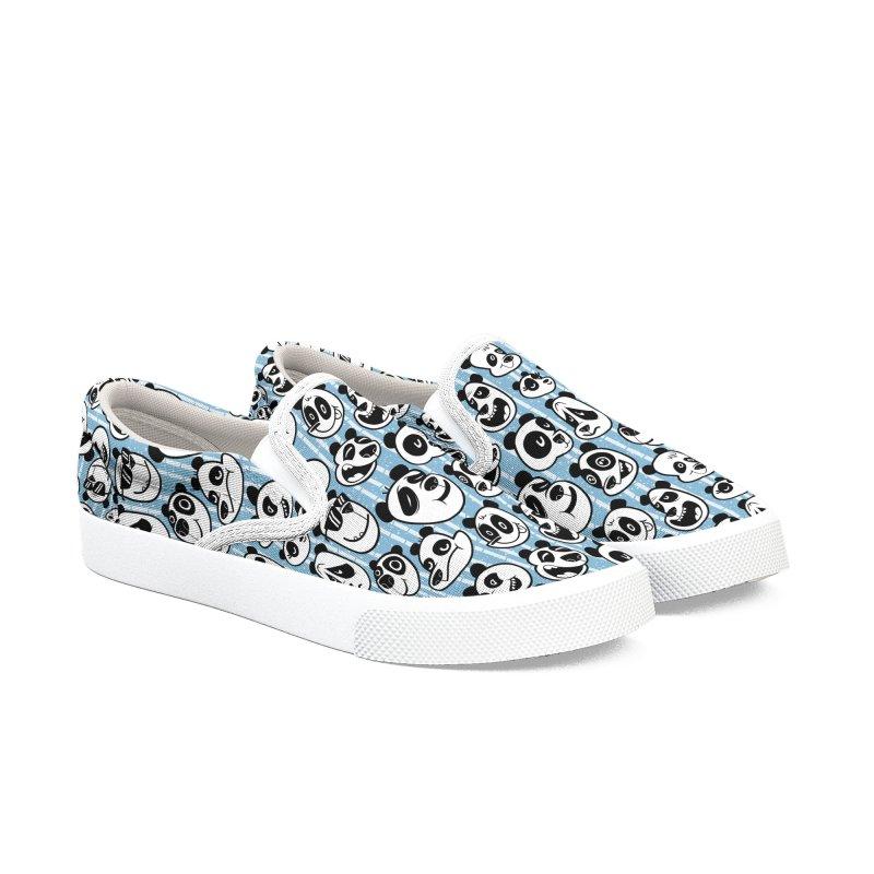 Panda Pattern Blue Men's Shoes by jublin's Artist Shop