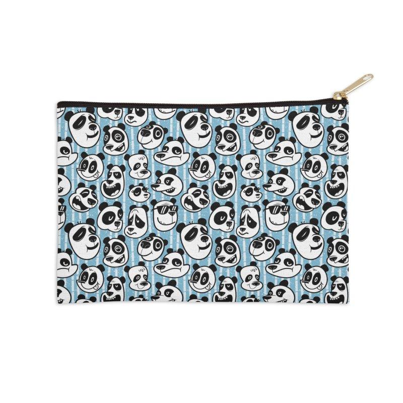 Panda Pattern Blue Accessories Zip Pouch by jublin's Artist Shop