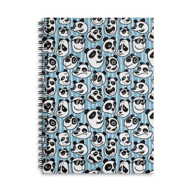 Panda Pattern Blue Accessories Notebook by jublin's Artist Shop