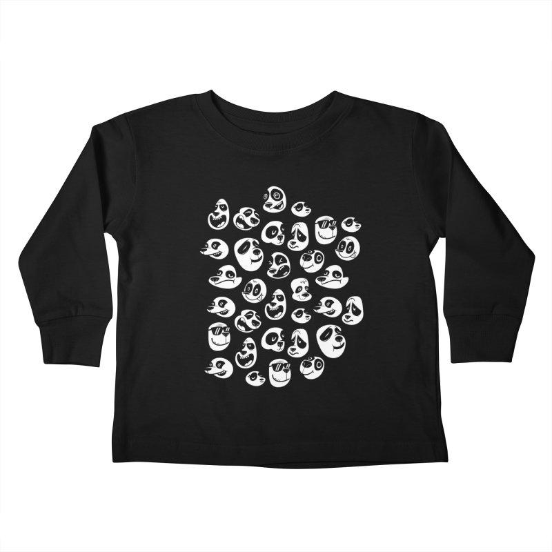 Panda Pattern Blue Kids Toddler Longsleeve T-Shirt by jublin's Artist Shop