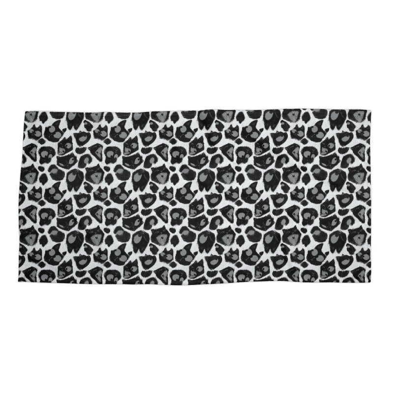 Snow Leopard Print (Made of Cats) Accessories Beach Towel by jublin's Artist Shop