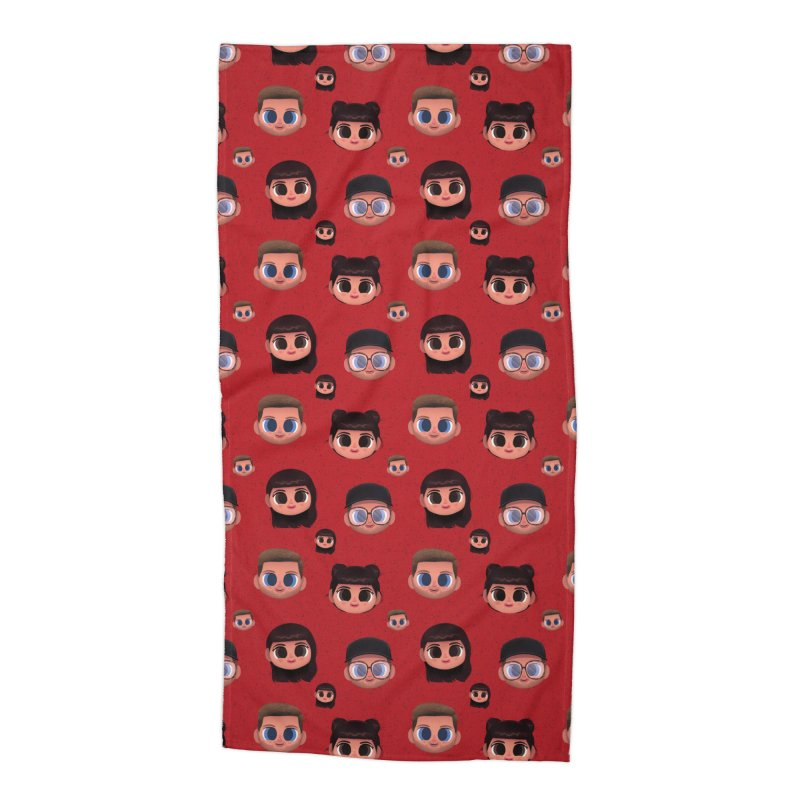 Raquel BF on Red Accessories Beach Towel by jublin's Artist Shop