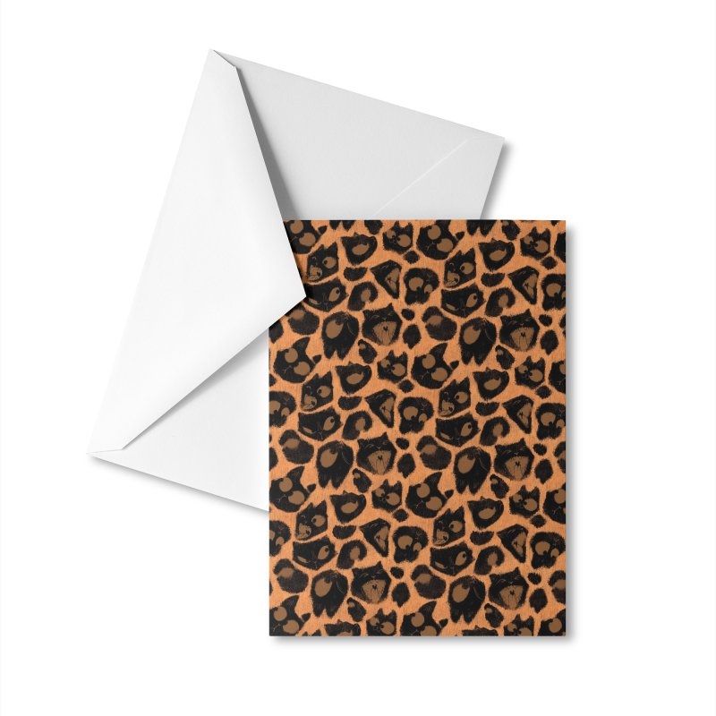 Leopard Print (Made of Cats) Accessories Greeting Card by jublin's Artist Shop
