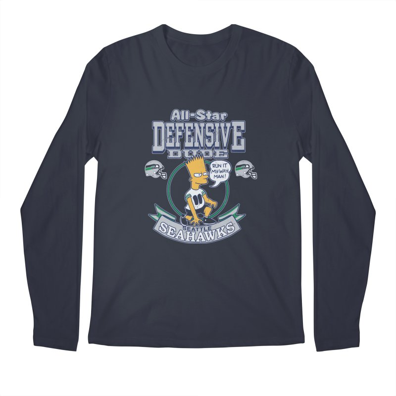 Seattle Defensive Dude Men's Longsleeve T-Shirt by jublin's Artist Shop