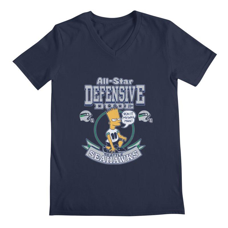 Seattle Defensive Dude Men's V-Neck by jublin's Artist Shop