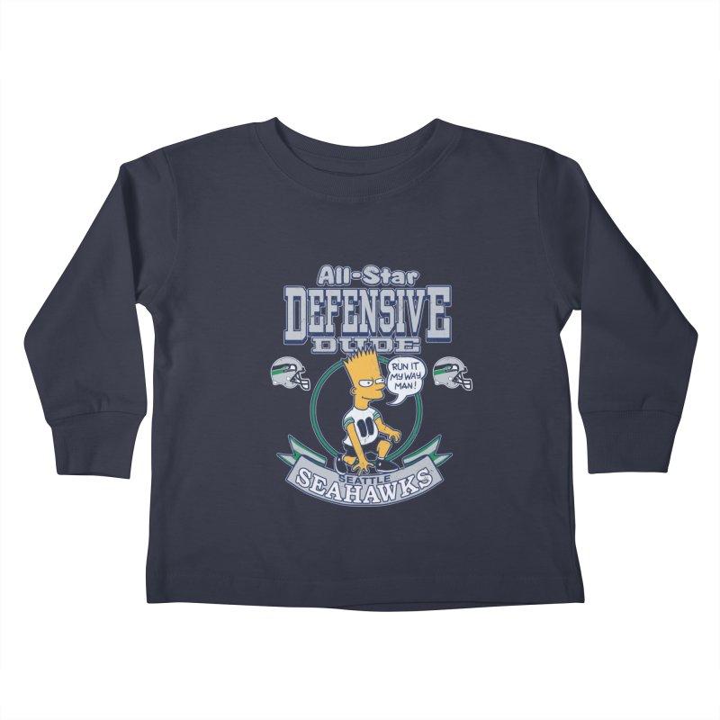 Seattle Defensive Dude Kids Toddler Longsleeve T-Shirt by jublin's Artist Shop