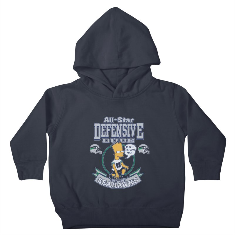 Seattle Defensive Dude Kids Toddler Pullover Hoody by jublin's Artist Shop
