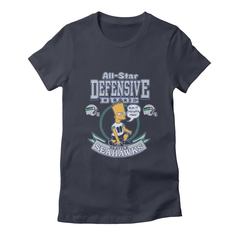 Seattle Defensive Dude Women's Fitted T-Shirt by jublin's Artist Shop