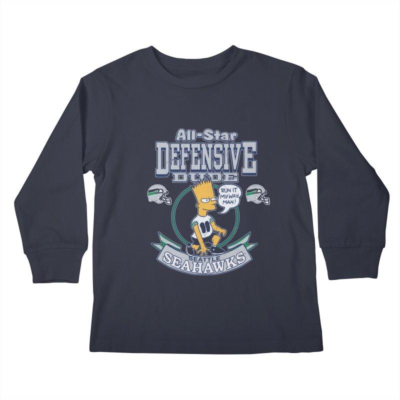 Seattle Defensive Dude Kids Longsleeve T-Shirt by jublin's Artist Shop