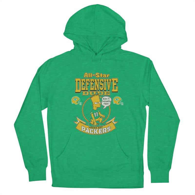 Green Bay Defensive Dude Women's Pullover Hoody by jublin's Artist Shop