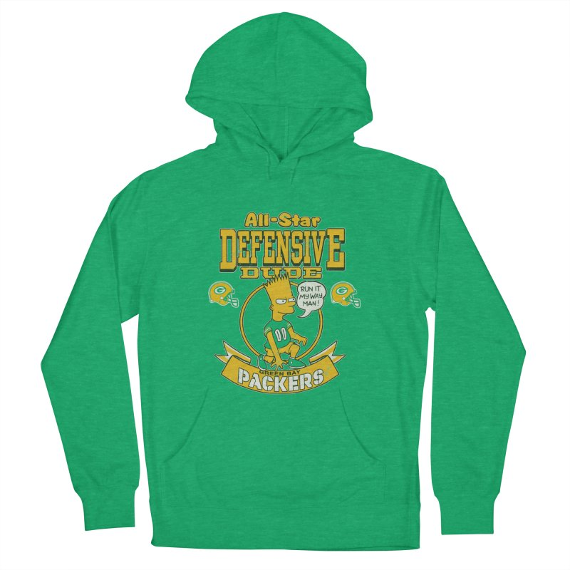Green Bay Defensive Dude Men's Pullover Hoody by jublin's Artist Shop