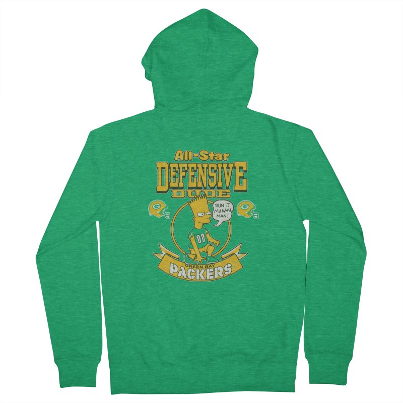 Green Bay Defensive Dude Women's Zip-Up Hoody by jublin's Artist Shop