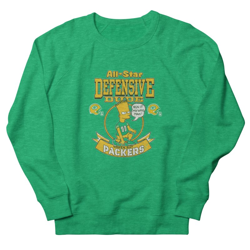 Green Bay Defensive Dude Women's French Terry Sweatshirt by jublin's Artist Shop