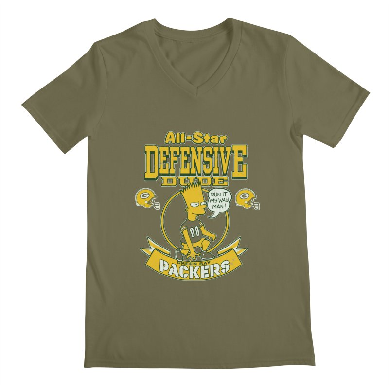 Green Bay Defensive Dude Men's V-Neck by jublin's Artist Shop