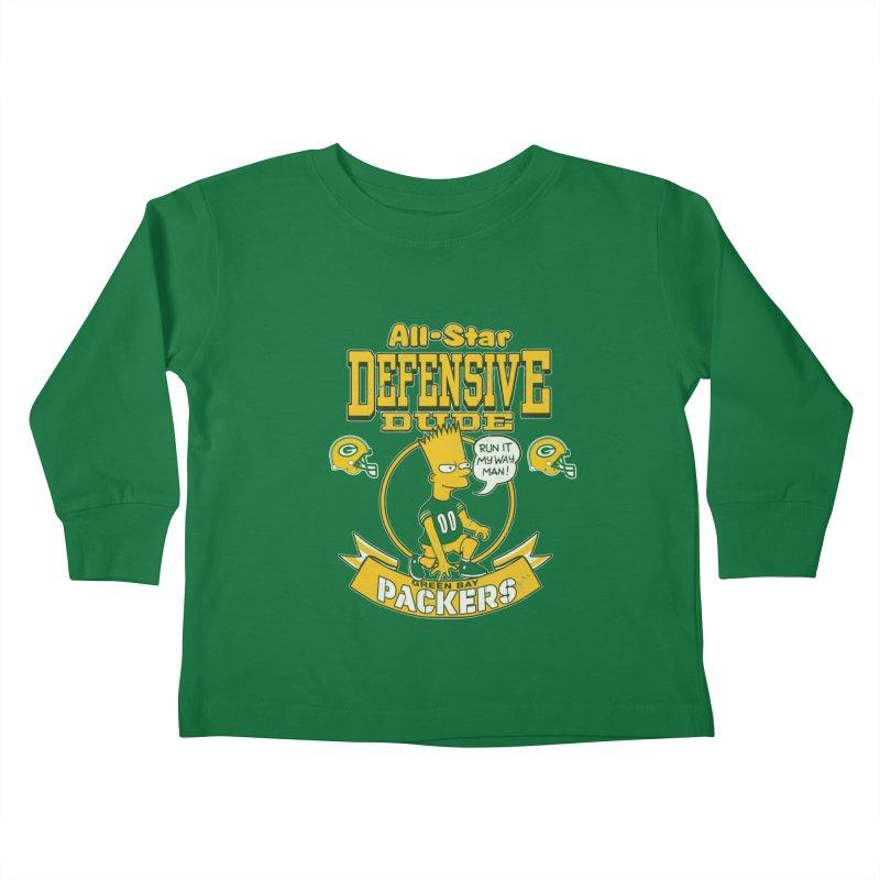 Green Bay Defensive Dude Kids Toddler Longsleeve T-Shirt by jublin's Artist Shop