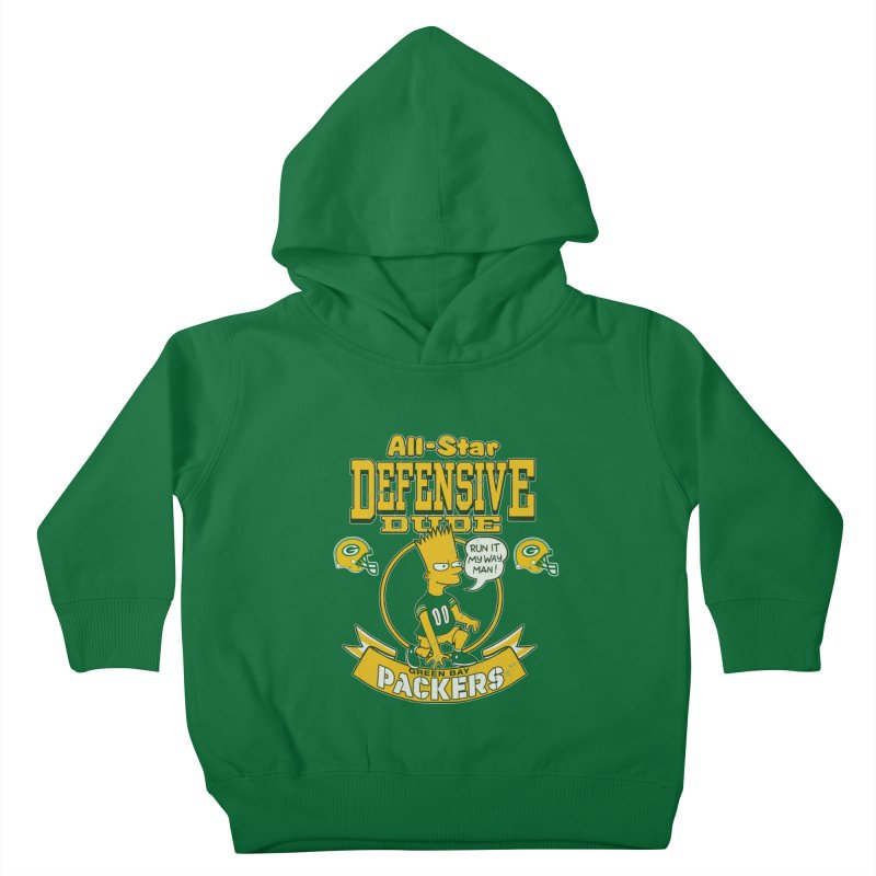 Green Bay Defensive Dude Kids Toddler Pullover Hoody by jublin's Artist Shop