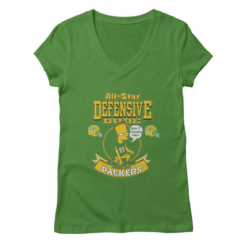 Green Bay Defensive Dude Women's V-Neck by jublin's Artist Shop