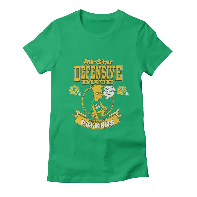 Green Bay Defensive Dude Women's Fitted T-Shirt by jublin's Artist Shop