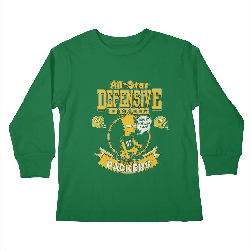 Green Bay Defensive Dude Kids Longsleeve T-Shirt by jublin's Artist Shop