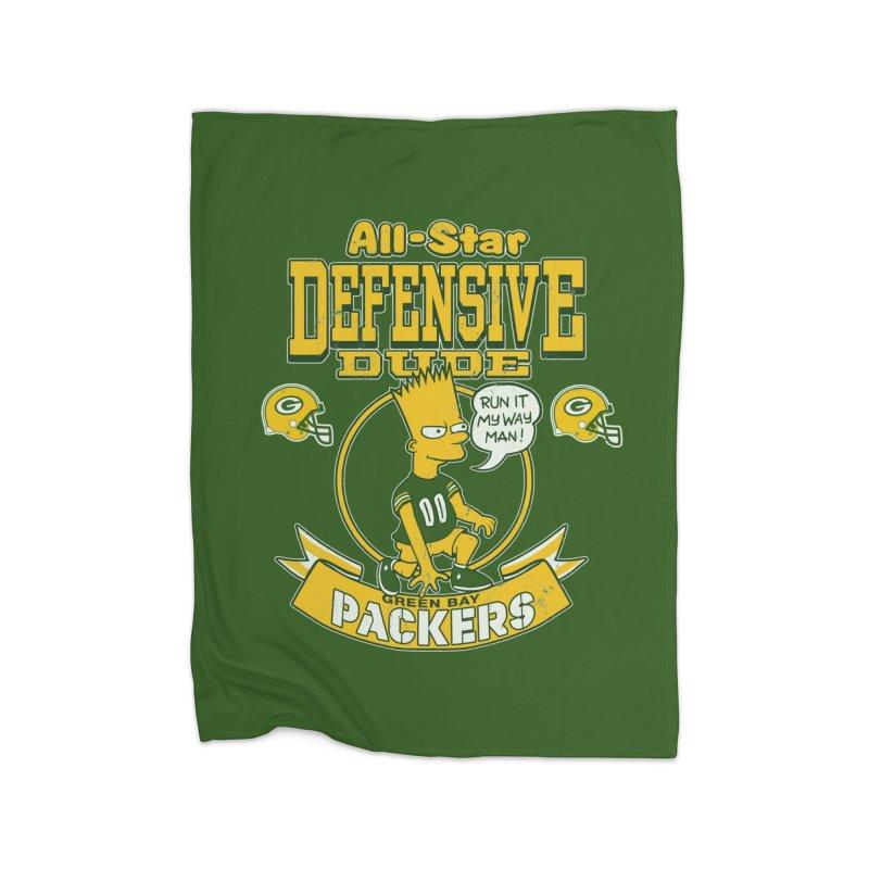 Green Bay Defensive Dude Home Fleece Blanket Blanket by jublin's Artist Shop