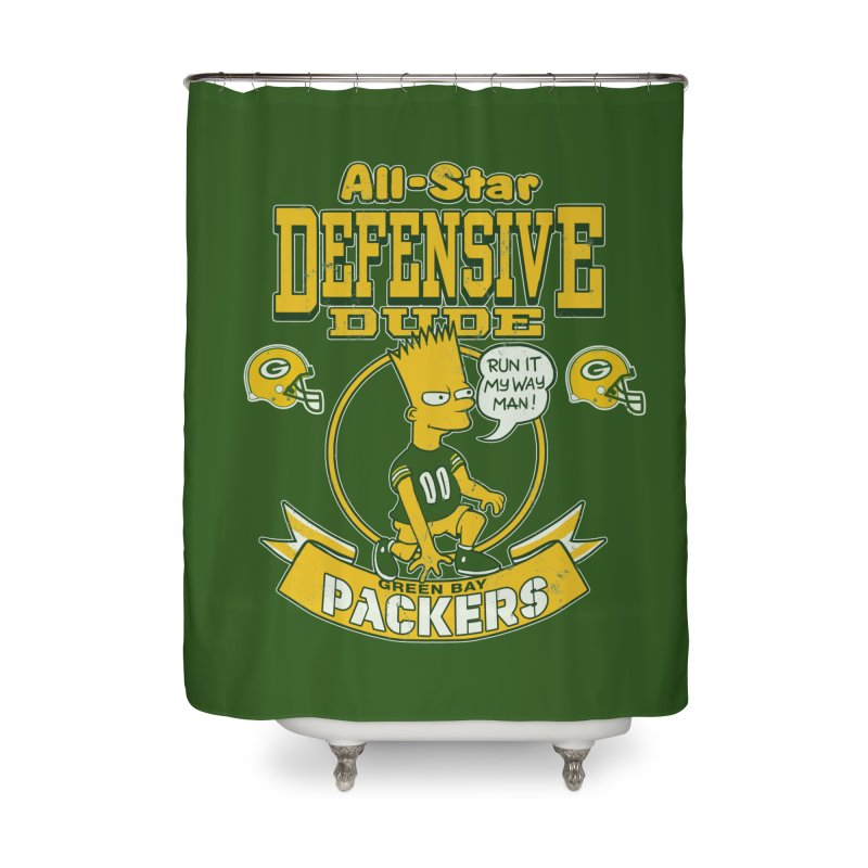 Green Bay Defensive Dude Home Shower Curtain by jublin's Artist Shop