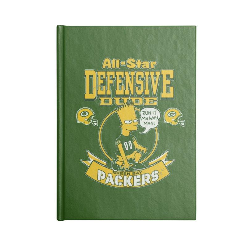 Green Bay Defensive Dude Accessories Blank Journal Notebook by jublin's Artist Shop