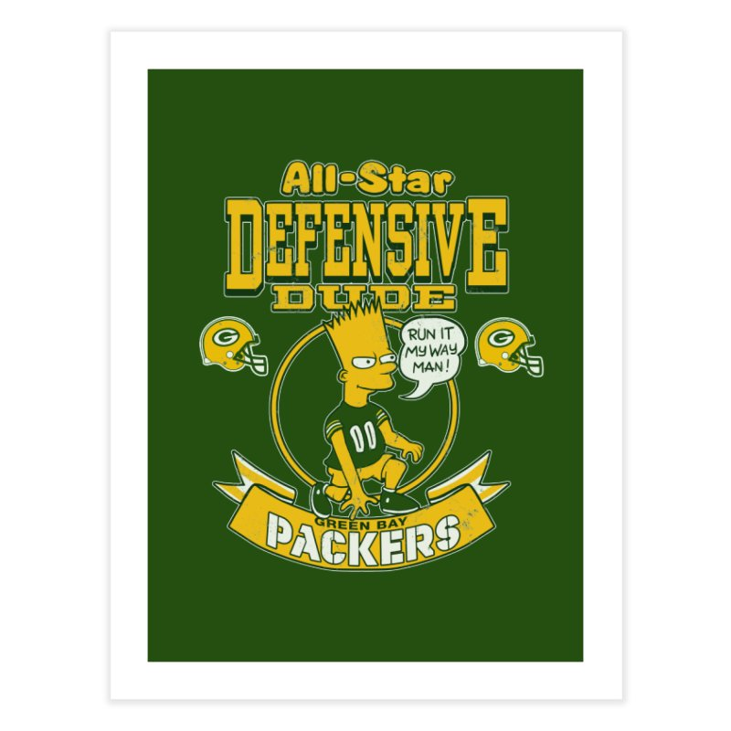 Green Bay Defensive Dude Home Fine Art Print by jublin's Artist Shop