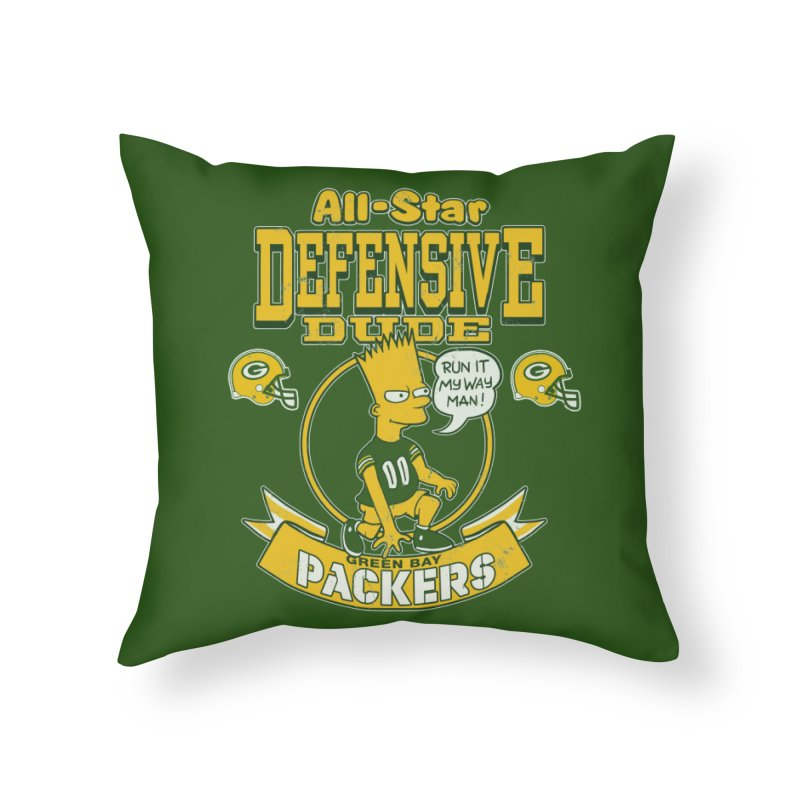Green Bay Defensive Dude Home Throw Pillow by jublin's Artist Shop