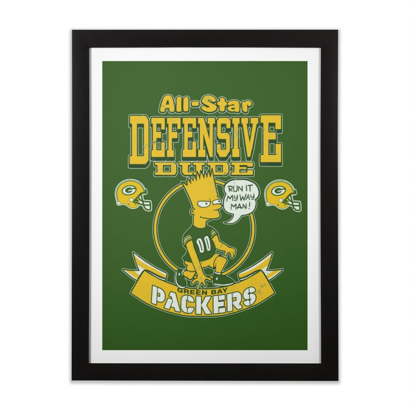 Green Bay Defensive Dude Home Framed Fine Art Print by jublin's Artist Shop