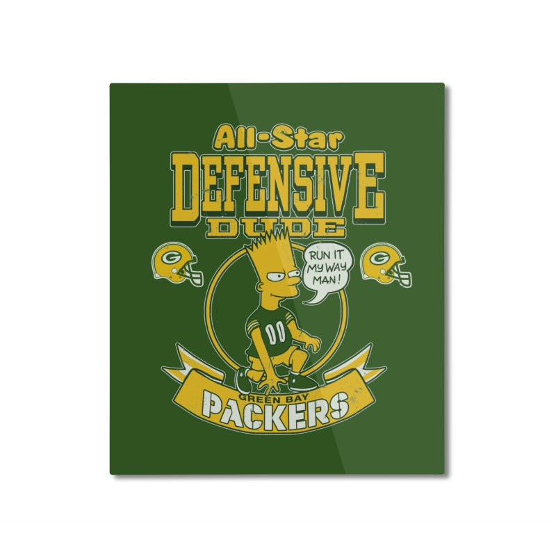 Green Bay Defensive Dude Home Mounted Aluminum Print by jublin's Artist Shop