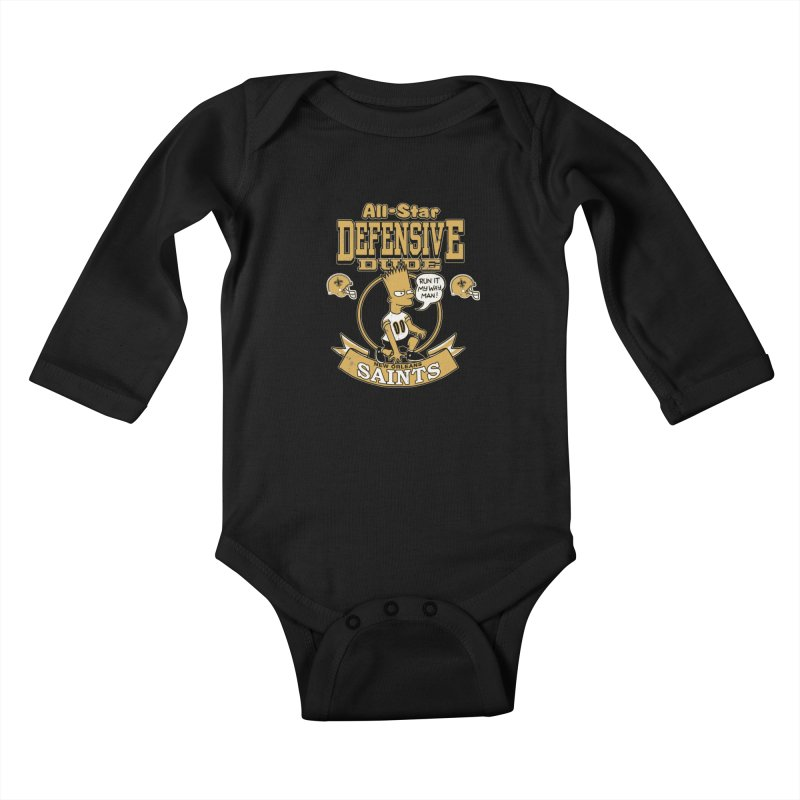 New Orleans Defensive Dude Kids Baby Longsleeve Bodysuit by jublin's Artist Shop