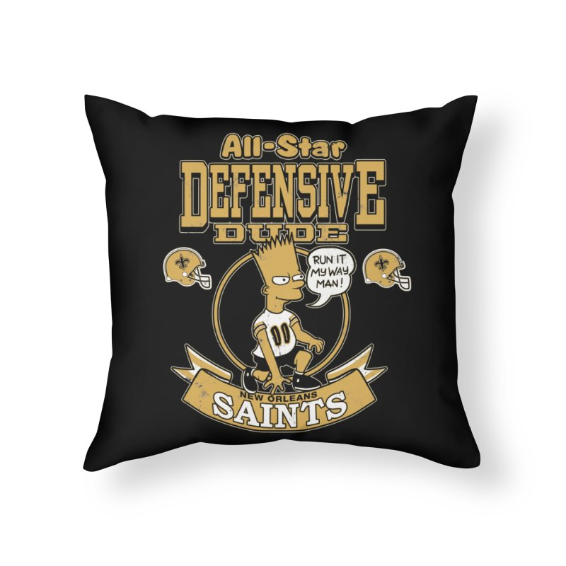 New Orleans Defensive Dude Home Throw Pillow by jublin's Artist Shop