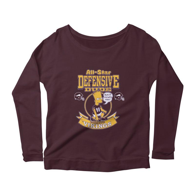 Minnesota Defensive Dude Women's Scoop Neck Longsleeve T-Shirt by jublin's Artist Shop