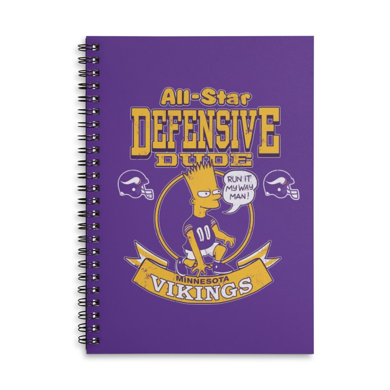 Minnesota Defensive Dude Accessories Lined Spiral Notebook by jublin's Artist Shop