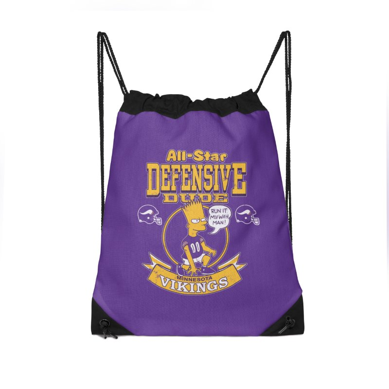Minnesota Defensive Dude Accessories Drawstring Bag Bag by jublin's Artist Shop