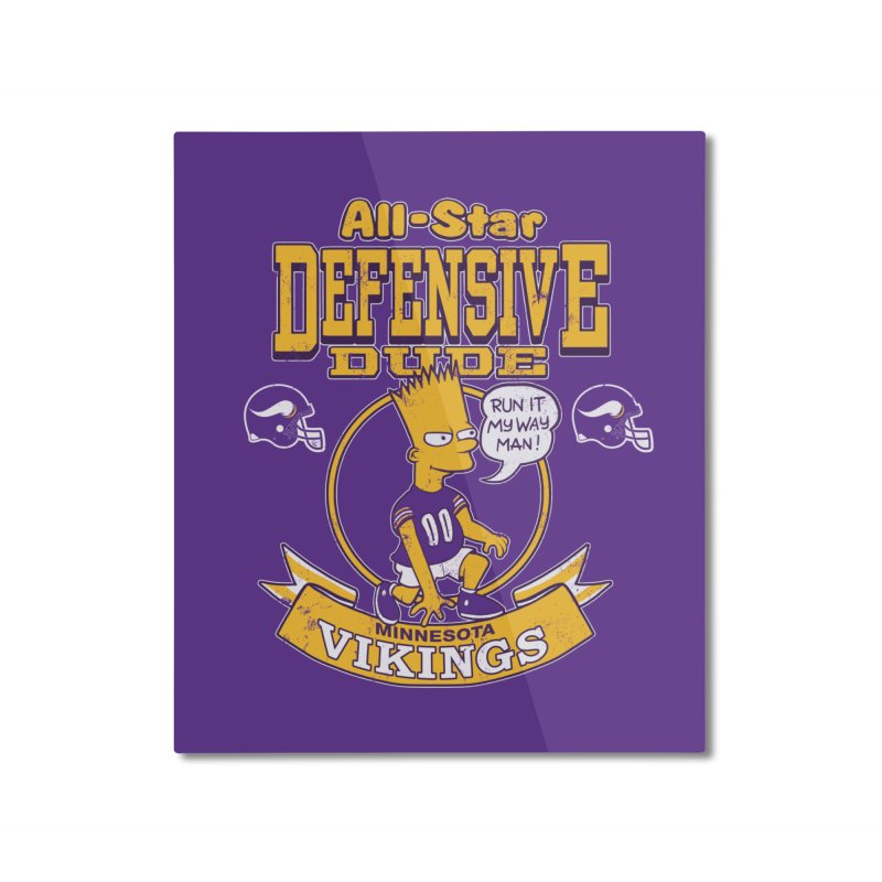 Minnesota Defensive Dude Home Mounted Aluminum Print by jublin's Artist Shop