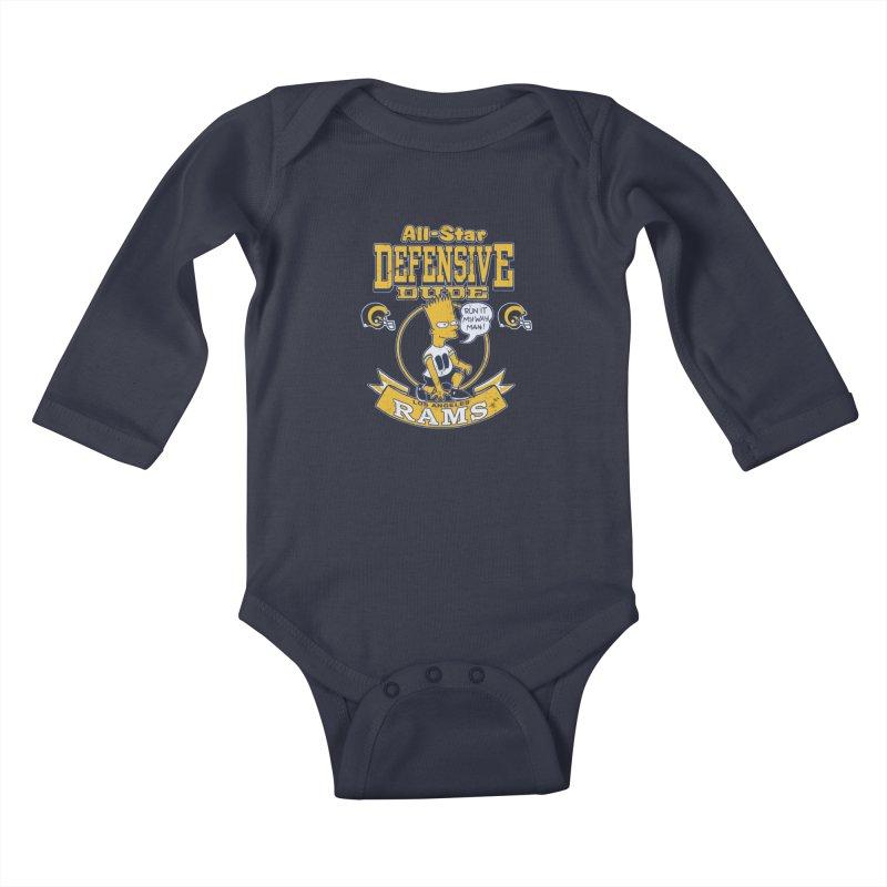 LA Defensive Dude Kids Baby Longsleeve Bodysuit by jublin's Artist Shop