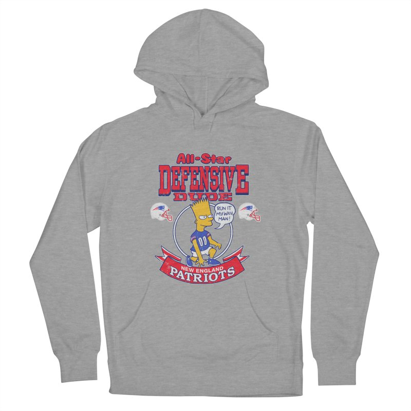 New England Defensive Dude Men's French Terry Pullover Hoody by jublin's Artist Shop