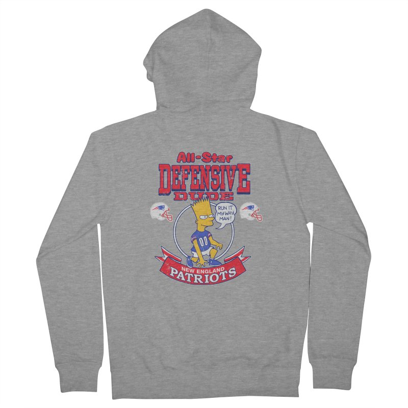 New England Defensive Dude Women's French Terry Zip-Up Hoody by jublin's Artist Shop