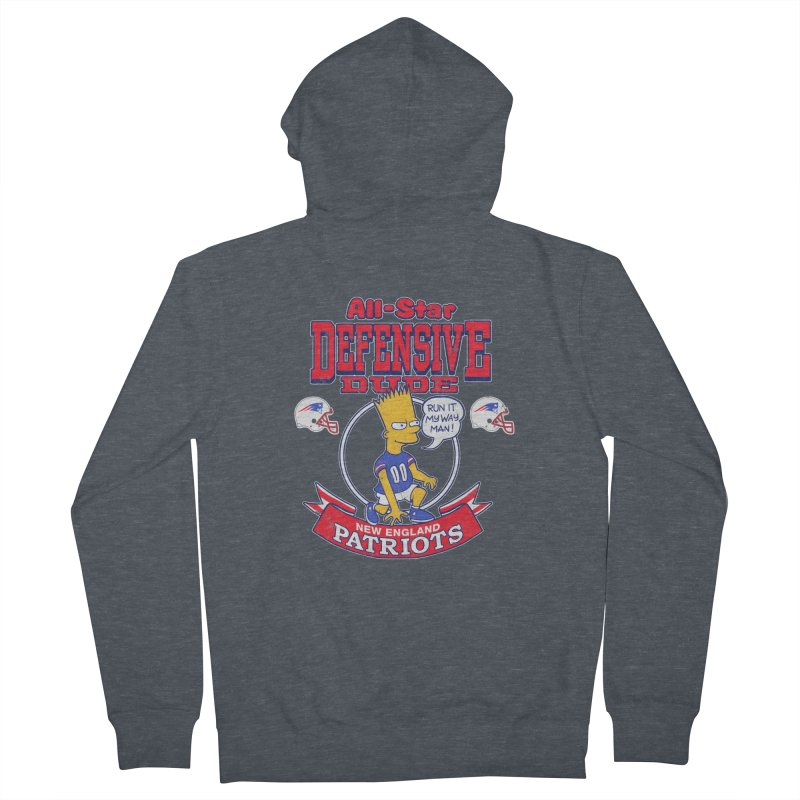 New England Defensive Dude Men's French Terry Zip-Up Hoody by jublin's Artist Shop