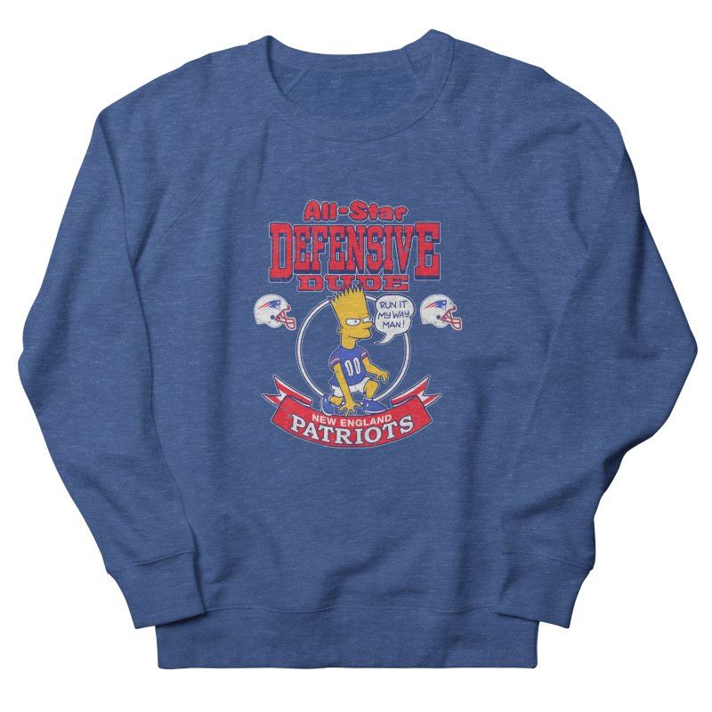 New England Defensive Dude Women's French Terry Sweatshirt by jublin's Artist Shop