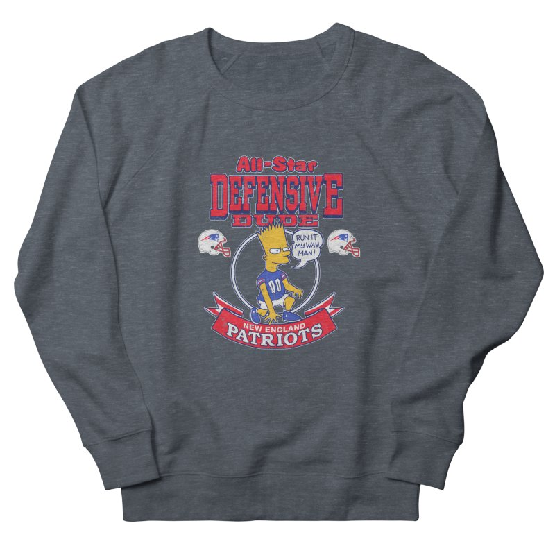New England Defensive Dude Men's French Terry Sweatshirt by jublin's Artist Shop