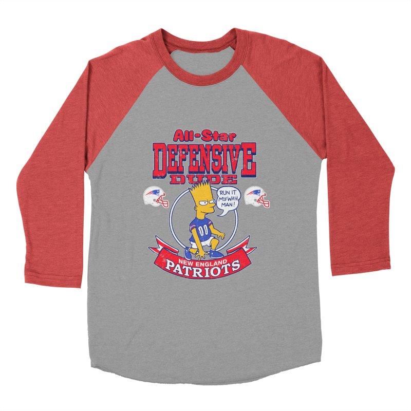 New England Defensive Dude Women's Baseball Triblend Longsleeve T-Shirt by jublin's Artist Shop