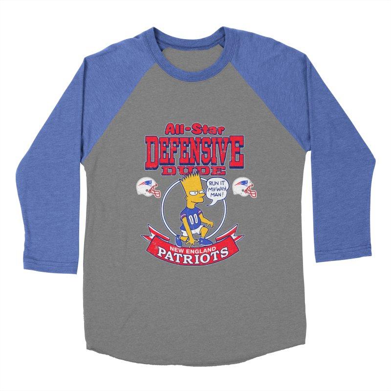 New England Defensive Dude Men's Baseball Triblend Longsleeve T-Shirt by jublin's Artist Shop