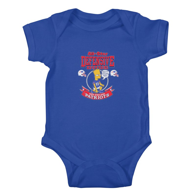 New England Defensive Dude Kids Baby Bodysuit by jublin's Artist Shop