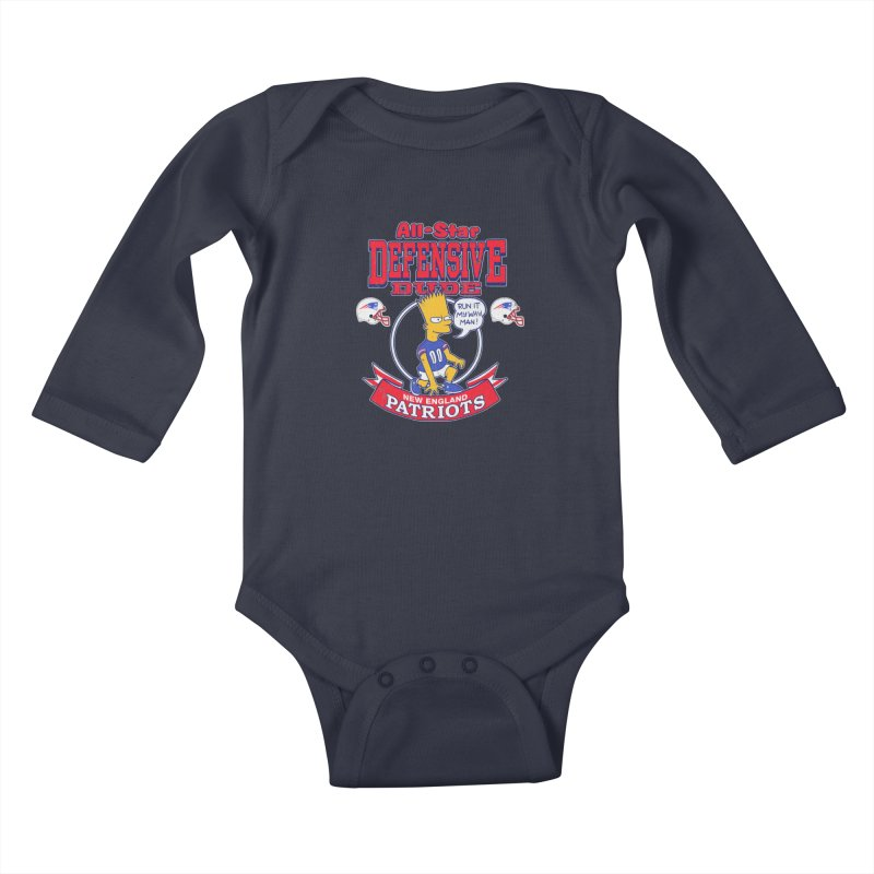New England Defensive Dude Kids Baby Longsleeve Bodysuit by jublin's Artist Shop