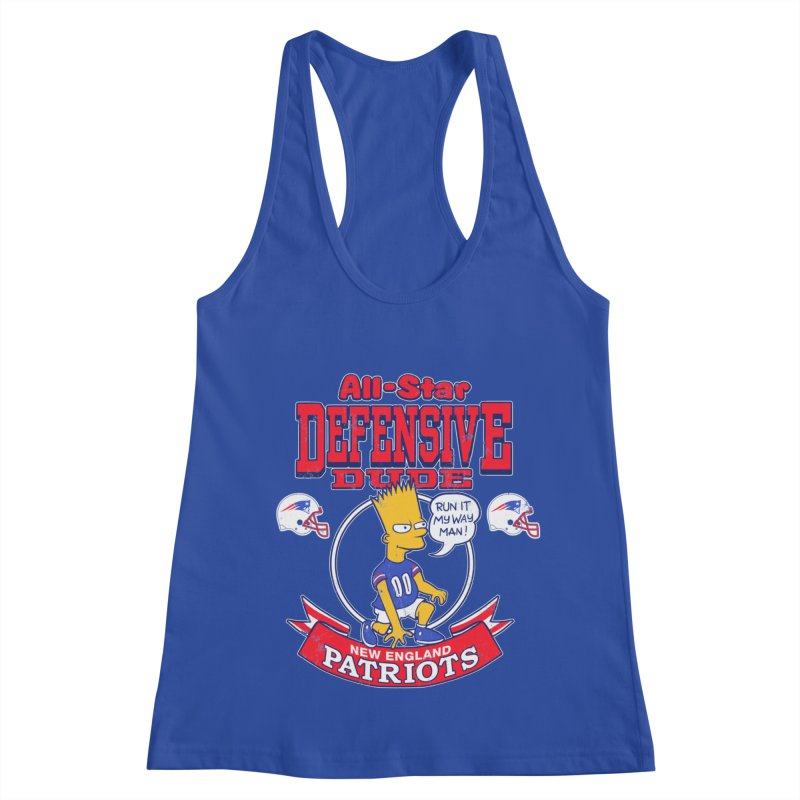 New England Defensive Dude Women's Racerback Tank by jublin's Artist Shop